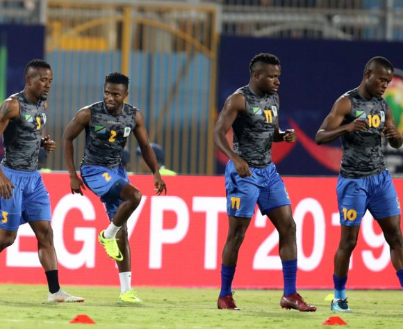 Gadiel Michael, Gadiel Michael, Thomas Ulimwengu and Mbwana Samatta of Tanzania warm up during the 2019 Africa Cup of Nations Finals match between Kenya and Tanzania at 30 June Stadium, Cairo, Egypt on 27 June 2019 ©Samuel Shivambu/BackpagePix