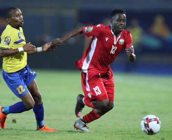 Eric Ouma of Kenya challenged by Hassan Ramadan of Tanzania during the 2019 Africa Cup of Nations Finals match between Kenya and Tanzania at 30 June Stadium, Cairo, Egypt on 27 June 2019 ©Samuel Shivambu/BackpagePix
