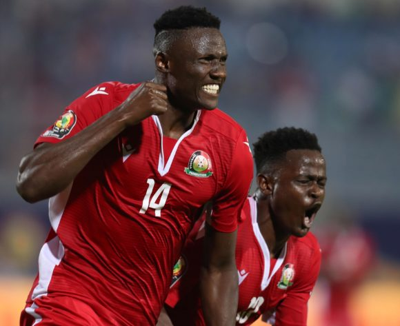 Michael Olunga of Kenya celebrates goal with teammates during the 2019 Africa Cup of Nations Finals match between Kenya and Tanzania at 30 June Stadium, Cairo, Egypt on 27 June 2019 ©Samuel Shivambu/BackpagePix
