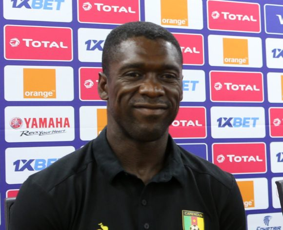 Coach Clarence Seedorf of Cameroon (l)  during the 2019 Africa Cup of Nations Cameroon Press Conference at Ismailia Stadium in Ismailia, Egypt on 28 June 2019 © Guy Suffo/BackpagePix