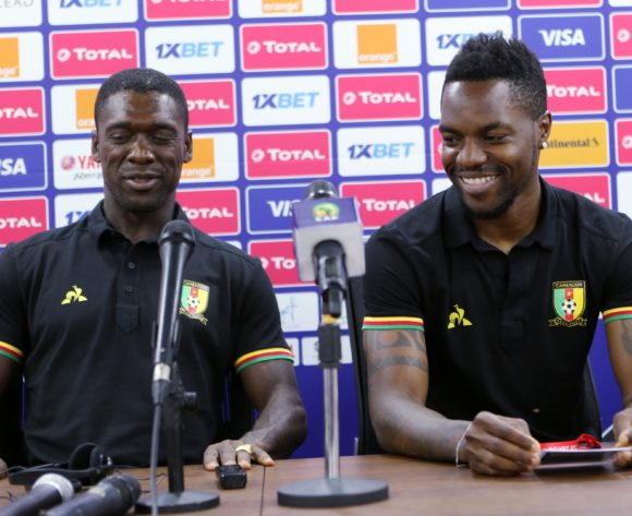 Georges Mandjeck of Cameroon (r) and Clarence Seedorf Coach of Cameroon (l)  during the 2019 Africa Cup of Nations Cameroon Press Conference at Ismailia Stadium in Ismailia, Egypt on 28 June 2019 © Guy Suffo/BackpagePix