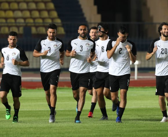 Ahmed El Mohamady (c) leads team in warm up during the 2019 Africa Cup of Nations Finals training session for Egypt at the Military Stadium, Cairo, Egypt on 25 June 2019 ©Gavin Barker/BackpagePix