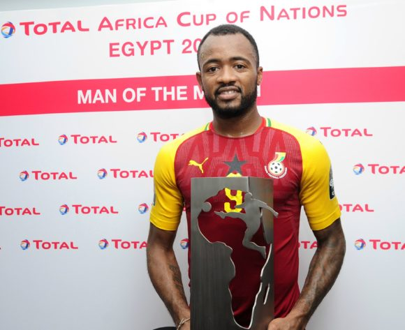Jordan Ayew of Ghana receives the Total Man of the Match award after the 2019 Africa Cup of Nations Finals game between Ghana and Benin at Ismailia Stadium in Ismailia, Egypt on 25 June 2019 © Ryan Wilkisky/BackpagePix