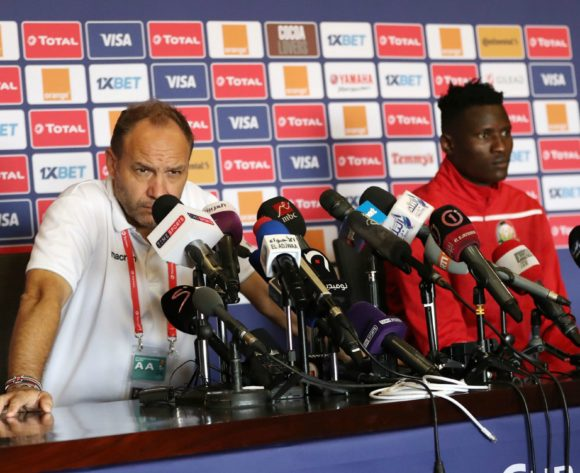 Sebastien Migne, coach of Kenya and Michael Olunga of Kenya during the 2019 Africa Cup of Nations Finals Kenya press conference at 30 June Stadium, Cairo, Egypt on 26 June 2019 ©Samuel Shivambu/BackpagePix