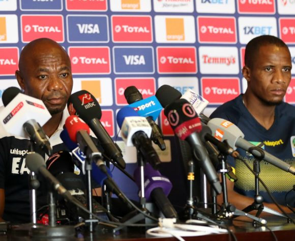 Emmanuel Amunike, coach of Tanzania and Himid Mao Mkami of Tanzania during the 2019 Africa Cup of Nations Finals Tanzania press conference at 30 June Stadium, Cairo, Egypt on 26 June 2019 ©Samuel Shivambu/BackpagePix