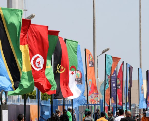 Gv general view of the Flag during the 2019 Africa Cup of Nations Finals match between Tunisia and Mali at Suez Stadium, Suez, Egypt on 28 June 2019 ©Samuel Shivambu/BackpagePix