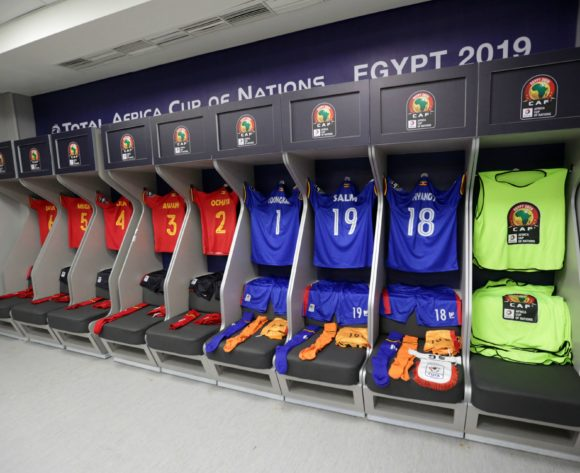 Uganda changeroom general view during the 2019 Africa Cup of Nations Finals Uganda and Egypt at Cairo International Stadium, Cairo, Egypt on 30 June 2019 ©Samuel Shivambu/BackpagePix