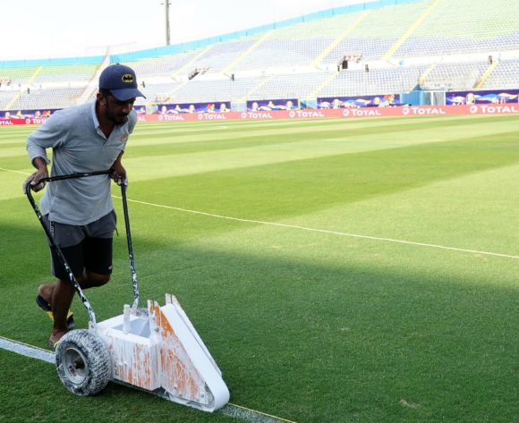 General view of groundsman marking the pitch before the 2019 Africa Cup of Nations Finals game between Zimbabwe and DR Congo at 30 June Stadium in Cairo, Egypt on 30 June 2019 © Ryan Wilkisky/BackpagePix