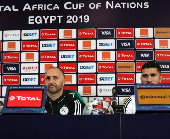 Djamel Belmadi, head coach of Algeria and Mehdi Abeid of Algeria during the 2019 Africa Cup of Nations Finals, semifinals Algeria press conference at Cairo International Stadium, Cairo, Egypt on 13 July 2019 ©Samuel Shivambu/BackpagePix