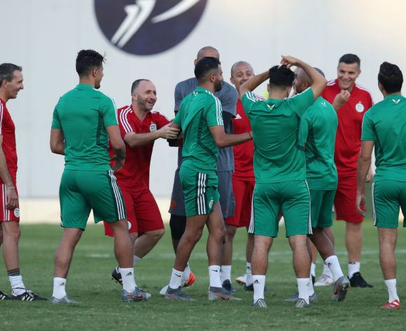 Djamel Belmadi, head coach of Algeria joking around with Riyad Mahrez of Algeria during the 2019 Africa Cup of Nations Semifinals Algeria Training at the Petro Sport Stadium, Cairo on the 13 July 2019 ©Muzi Ntombela/BackpagePix