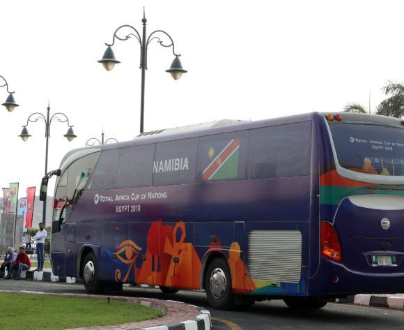 Namibia team arrival during the 2019 Africa Cup of Nations match between Namibia and Ivory Coast at the 30 June Stadium, Cairo on the 01 July 2019 ©Muzi Ntombela/BackpagePix