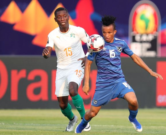 Marcel Papama of Namibia challenged by Max Gradel of Ivory Coast during the 2019 Africa Cup of Nations match between Namibia and Ivory Coast at the 30 June Stadium, Cairo on the 01 July 2019 ©Muzi Ntombela/BackpagePix