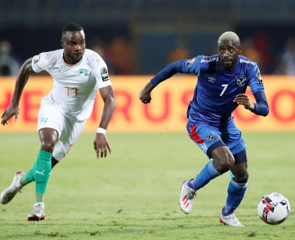 Deon Hotto of Namibia challenged by Maxwel Cornet of Ivory Coast during the 2019 Africa Cup of Nations match between Namibia and Ivory Coast at the 30 June Stadium, Cairo on the 01 July 2019 ©Muzi Ntombela/BackpagePix