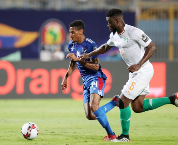 Joslyn Kamatuka of Namibia challenged by Ismael Traore of Ivory Coast during the 2019 Africa Cup of Nations match between Namibia and Ivory Coast at the 30 June Stadium, Cairo on the 01 July 2019 ©Muzi Ntombela/BackpagePix