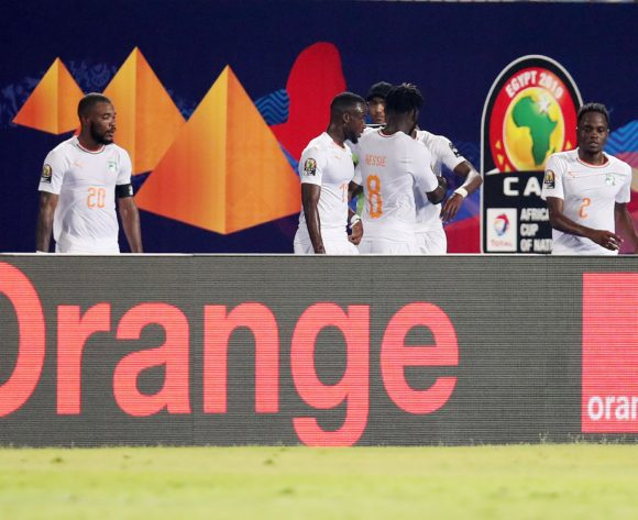 Wilfried Zaha of Ivory Coast celebrates goal with teammates during the 2019 Africa Cup of Nations match between Namibia and Ivory Coast at the 30 June Stadium, Cairo on the 01 July 2019 ©Muzi Ntombela/BackpagePix