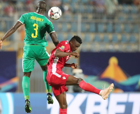Michael Olunga of Kenya challenged by Kalidou Koulibaly of Senegal during the 2019 Africa Cup of Nations match between Kenya and Senegal at the 30 June Stadium, Cairo on the 01 July 2019 ©Muzi Ntombela/BackpagePix