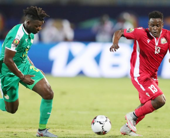 Eric Ouma of Kenya challenged by Lamine Gassama of Senegal  during the 2019 Africa Cup of Nations match between Kenya and Senegal at the 30 June Stadium, Cairo on the 01 July 2019 ©Muzi Ntombela/BackpagePix