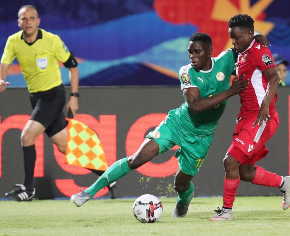 Ismaila Sarr of Senegal challenged by Eric Ouma of Kenya during the 2019 Africa Cup of Nations match between Kenya and Senegal at the 30 June Stadium, Cairo on the 01 July 2019 ©Muzi Ntombela/BackpagePix