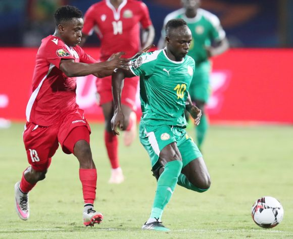 Sadio Mane of Senegal challenged by Eric Ouma of Kenya during the 2019 Africa Cup of Nations match between Kenya and Senegal at the 30 June Stadium, Cairo on the 01 July 2019 ©Muzi Ntombela/BackpagePix