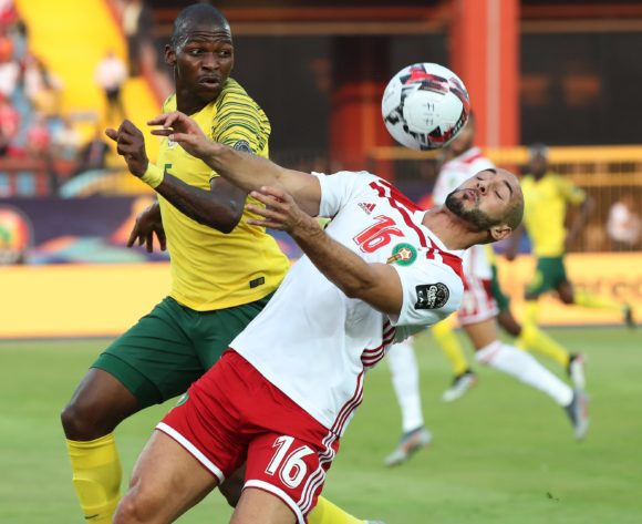 Noureddine Amrabat of Morocco challenged by Thamsanqa Mkhize of South Africa during the 2019 Africa Cup of Nations Finals football match between South Africa and Morocco at the Al Salam Stadium, Cairo, Egypt on 01 July 2019 ©Gavin Barker/BackpagePix