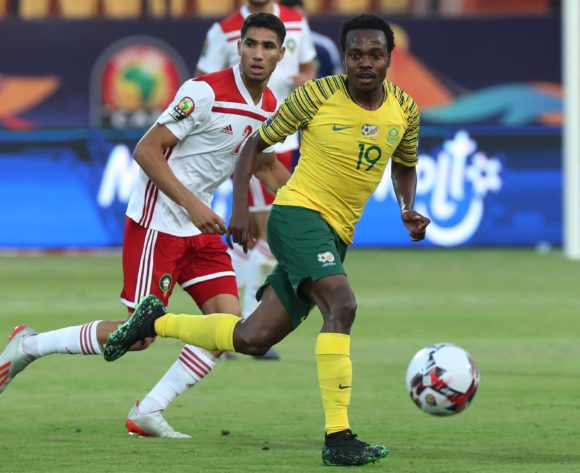 Percy Tau of South Africa during the 2019 Africa Cup of Nations Finals football match between South Africa and Morocco at the Al Salam Stadium, Cairo, Egypt on 01 July 2019 ©Gavin Barker/BackpagePix