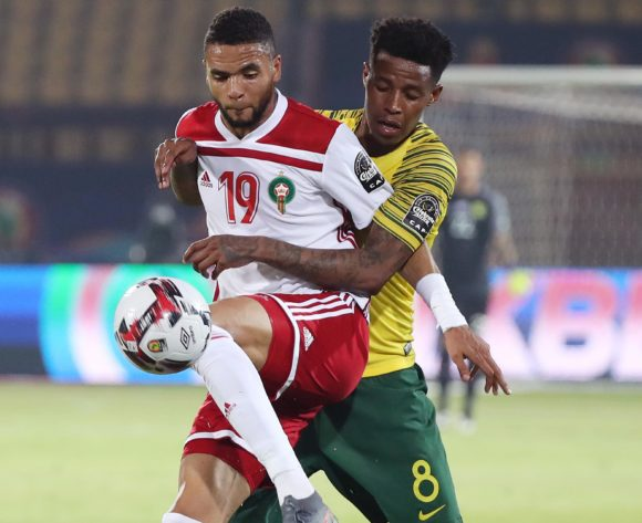 Youssef En-Nesyri of Morocco shields ball from Bongani Zungu of South Africa during the 2019 Africa Cup of Nations Finals football match between South Africa and Morocco at the Al Salam Stadium, Cairo, Egypt on 01 July 2019 ©Gavin Barker/BackpagePix