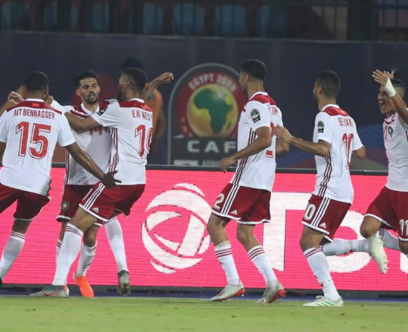 M'bark Boussoufa of Morocco celebrates goal during the 2019 Africa Cup of Nations Finals football match between South Africa and Morocco at the Al Salam Stadium, Cairo, Egypt on 01 July 2019 ©Gavin Barker/BackpagePix