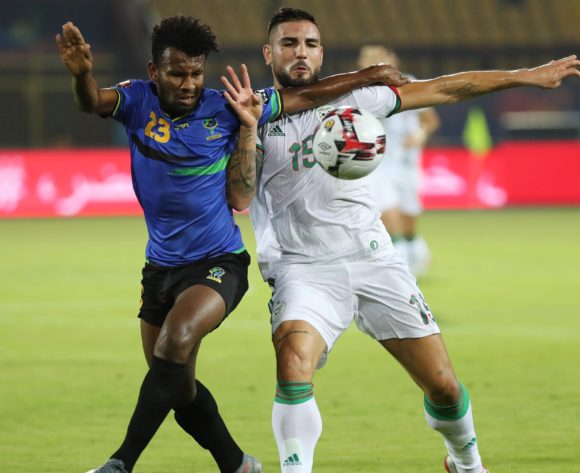 Mudathir Yahya of Tanzania and Andy Delort of Algeria during the 2019 Africa Cup of Nations Finals football match between Tanzania and Algeria at the Al Salam Stadium, Cairo, Egypt on 01 July 2019 ©Gavin Barker/BackpagePix