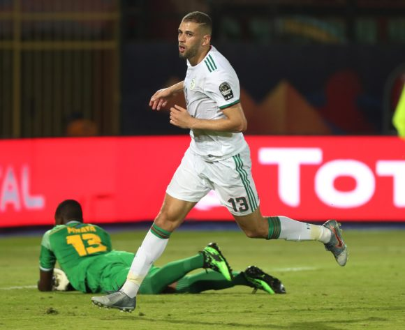 Islam Slimani of Algeria celebrates goal after scoring past Metacha Mnata of Tanzania during the 2019 Africa Cup of Nations Finals football match between Tanzania and Algeria at the Al Salam Stadium, Cairo, Egypt on 01 July 2019 ©Gavin Barker/BackpagePix