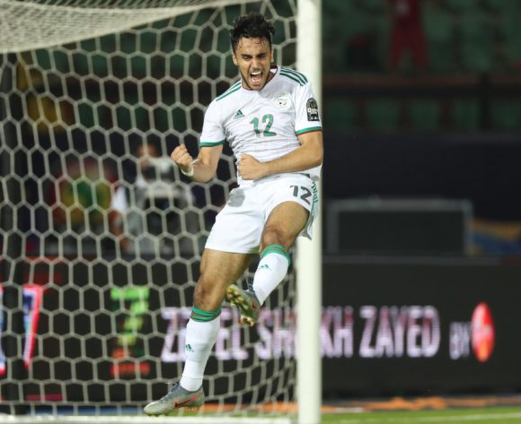 Adam Ounas of Algeria celebrates goal during the 2019 Africa Cup of Nations Finals football match between Tanzania and Algeria at the Al Salam Stadium, Cairo, Egypt on 01 July 2019 ©Gavin Barker/BackpagePix
