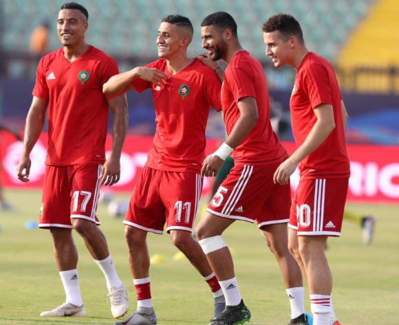 Nabil Dirar, Faycal Fajr, Youssef Ait Bennasser and Oussama Idrissi of Morocco warm up during the 2019 Africa Cup of Nations Finals South Africa and Morocco at Al Salam Stadium, Cairo, Egypt on 01 July 2019 ©Samuel Shivambu/BackpagePix