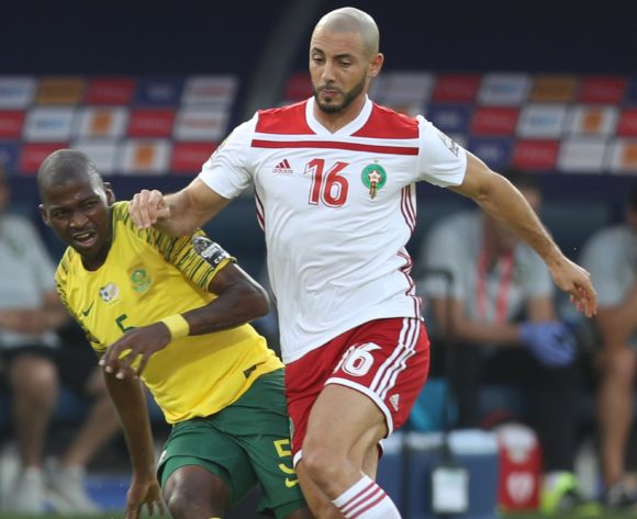 Thamsanqa Mkhize of South Africa challenged by Noureddine Amrabat of Morocco during the 2019 Africa Cup of Nations Finals South Africa and Morocco at Al Salam Stadium, Cairo, Egypt on 01 July 2019 ©Samuel Shivambu/BackpagePix
