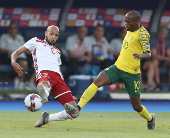 Karim El Ahmadi of Morocco challenged by Thulani Serero of South Africa during the 2019 Africa Cup of Nations Finals South Africa and Morocco at Al Salam Stadium, Cairo, Egypt on 01 July 2019 ©Samuel Shivambu/BackpagePix