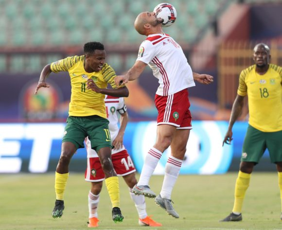 Noureddine Amrabat of Morocco challenged by Themba Zwane of South Africa during the 2019 Africa Cup of Nations Finals South Africa and Morocco at Al Salam Stadium, Cairo, Egypt on 01 July 2019 ©Samuel Shivambu/BackpagePix