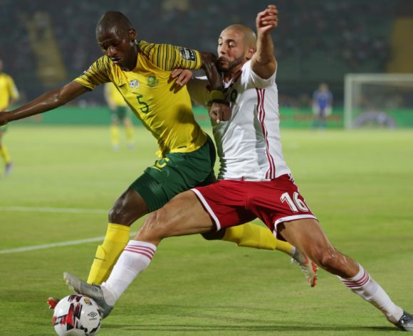Noureddine Amrabat of Morocco challenged by Thamsanqa Mkhize of South Africa during the 2019 Africa Cup of Nations Finals South Africa and Morocco at Al Salam Stadium, Cairo, Egypt on 01 July 2019 ©Samuel Shivambu/BackpagePix