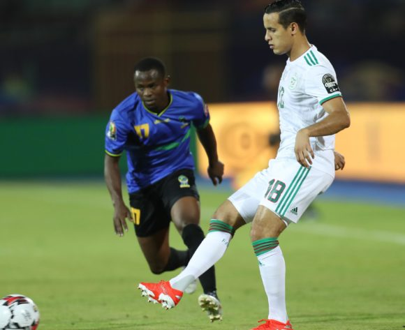 Mehdi Zeffane of Algeria challenged by Farid Mussa of Tanzania during the 2019 Africa Cup of Nations Finals Tanzania and Algeria at Al Salam Stadium, Cairo, Egypt on 01 July 2019 ©Samuel Shivambu/BackpagePix