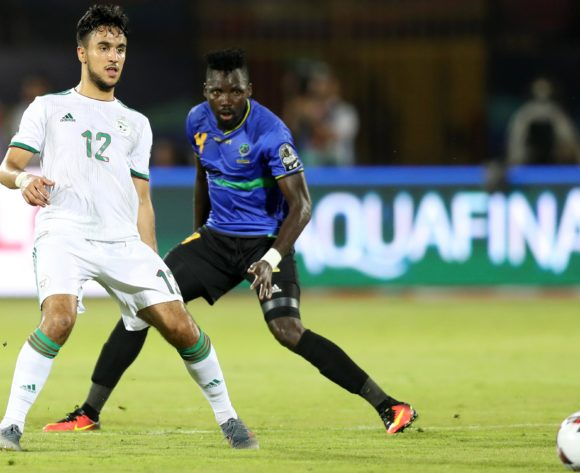 Aissa Mandi of Algeria challenged by Erasto Nyoni of Tanzania during the 2019 Africa Cup of Nations Finals Tanzania and Algeria at Al Salam Stadium, Cairo, Egypt on 01 July 2019 ©Samuel Shivambu/BackpagePix