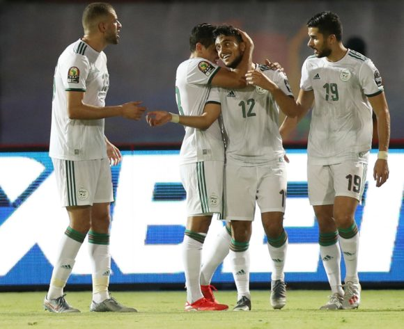 Adam Ounas of Algeria celebrates goal with teammates during the 2019 Africa Cup of Nations Finals Tanzania and Algeria at Al Salam Stadium, Cairo, Egypt on 01 July 2019 ©Samuel Shivambu/BackpagePix