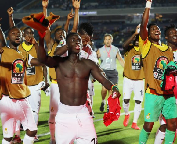 Samuel Owusu of Ghana leads team in celebration during the 2019 Africa Cup of Nations Finals football match between Guinea Bissau and Ghana at the Suez Stadium, Suez, Egypt on 02 July 2019 ©Gavin Barker/BackpagePix