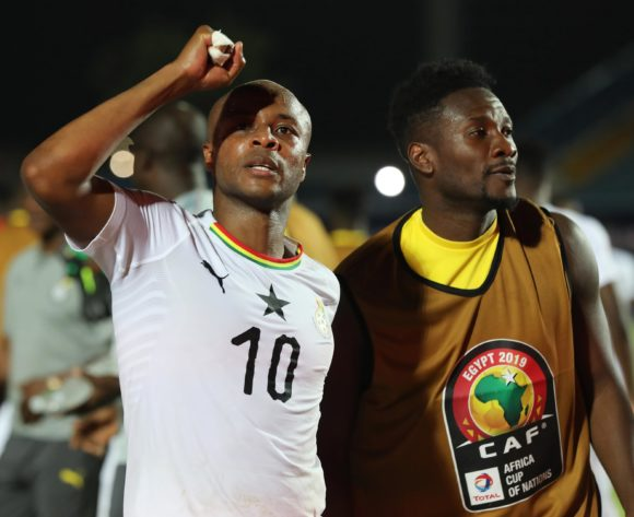 Andre Ayew and Asamoah Gyan of Ghana during the 2019 Africa Cup of Nations Finals football match between Guinea Bissau and Ghana at the Suez Stadium, Suez, Egypt on 02 July 2019 ©Gavin Barker/BackpagePix