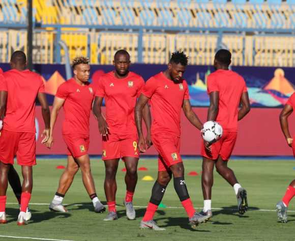 Cameroon players warming up during the 2019 Africa Cup of Nations match between Benin and Cameroon at the Ismailia Stadium, Ismailia on the 02 July 2019 ©Muzi Ntombela/BackpagePix