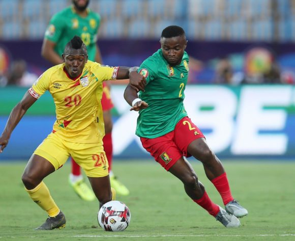 Ngoran Collins Fai of Cameroon challenged by Jodel Dossou of Benin during the 2019 Africa Cup of Nations match between Benin and Cameroon at the Ismailia Stadium, Ismailia on the 02 July 2019 ©Muzi Ntombela/BackpagePix