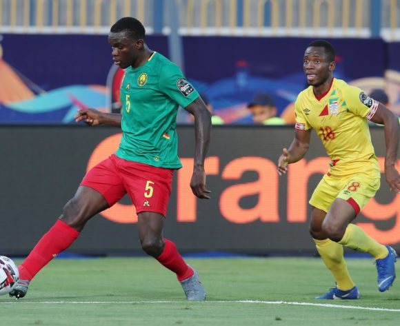 Michael Ngadeu Ngadjui of Cameroon clears ball from Seibou Mama of Benin during the 2019 Africa Cup of Nations match between Benin and Cameroon at the Ismailia Stadium, Ismailia on the 02 July 2019 ©Muzi Ntombela/BackpagePix