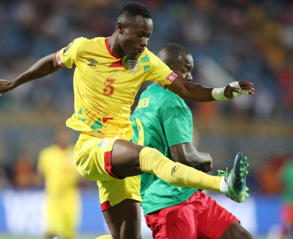 Abdou Adenon of Benin clears ball from Stephane Bahoken of Cameroon during the 2019 Africa Cup of Nations match between Benin and Cameroon at the Ismailia Stadium, Ismailia on the 02 July 2019 ©Muzi Ntombela/BackpagePix