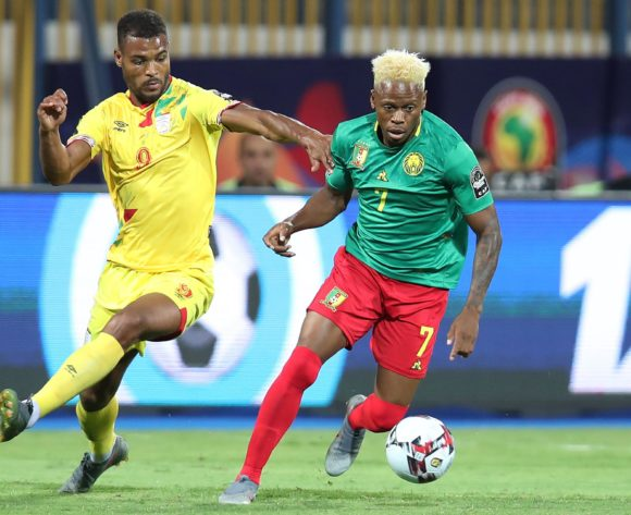 Clinton Njie of Cameroon challenged by Steve Mounie of Benin during the 2019 Africa Cup of Nations match between Benin and Cameroon at the Ismailia Stadium, Ismailia on the 02 July 2019 ©Muzi Ntombela/BackpagePix