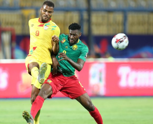 Steve Mounie of Benin clears ball from Andre Frank Zambo Anguissa of Cameroon during the 2019 Africa Cup of Nations match between Benin and Cameroon at the Ismailia Stadium, Ismailia on the 02 July 2019 ©Muzi Ntombela/BackpagePix
