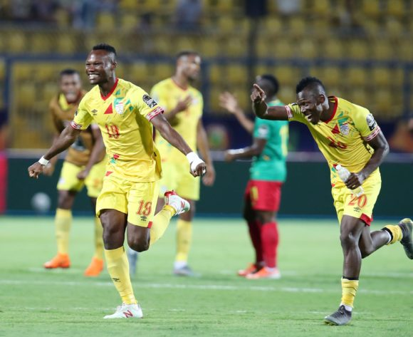 Desire Segbe (19) celebrates with Jodel Dossou of Benin during the 2019 Africa Cup of Nations match between Benin and Cameroon at the Ismailia Stadium, Ismailia on the 02 July 2019 ©Muzi Ntombela/BackpagePix