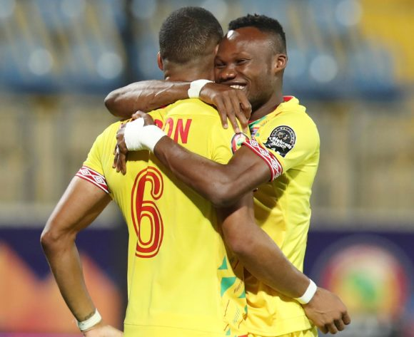 Desire Segbe (r) celebrates with teammate Olivier Verdon of Benin during the 2019 Africa Cup of Nations match between Benin and Cameroon at the Ismailia Stadium, Ismailia on the 02 July 2019 ©Muzi Ntombela/BackpagePix