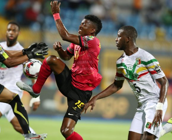 Jacinto Gelson Dala of Angola challenged by Boubacar Kiki Kouyate and Djigui Diarra of Mali during the 2019 Africa Cup of Nations match between Angola and Mali at the Ismailia Stadium, Ismailia on the 02 July 2019 ©Muzi Ntombela/BackpagePix