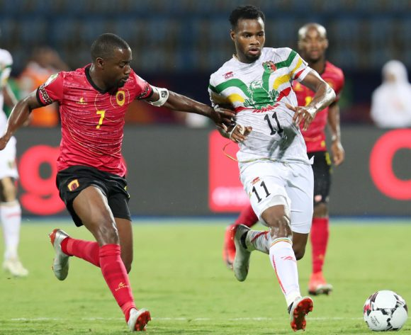 Lassana Coulibaly of Mali challenged by Djalma Campos of Angola during the 2019 Africa Cup of Nations match between Angola and Mali at the Ismailia Stadium, Ismailia on the 02 July 2019 ©Muzi Ntombela/BackpagePix
